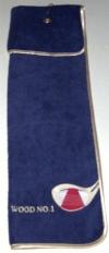 beba Golftuch gefaltet ca. 20x75 cm mit Spezialaufhänger und  beba Stickerei Golf-Wood Nr. 1
